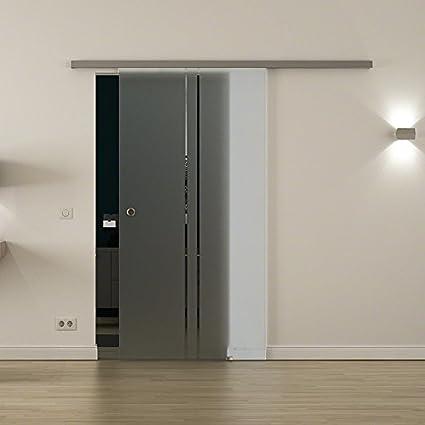 Cristal-puerta corredera para interiores con cierre-sistema LEVIDOR - ancho cristal: 1025 mm Altura: 2050 mm - Cristal: Vidrio de leche con 2 claras vertical de rayas y concha de mango, de alta