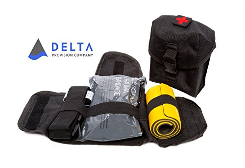 Aid Bleeding First (Delta Provision Co. Trauma Kit - Quick Rip Away Pouch w/Combat Tourniquet, Israeli Bandage, Splint Inside - MOLLE System - Tactical Survival Kit)