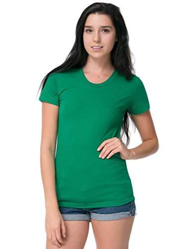 Polyester Kelly Green - American Apparel Women's Poly-Cotton Short Sleeve Women's's T Size S Kelly Green