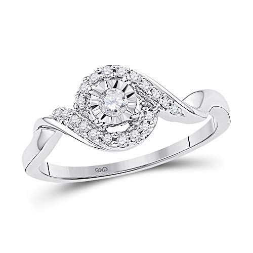 10kt White Gold Womens Round Diamond Solitaire Twist Promise Bridal Ring 1/6 Cttw ()