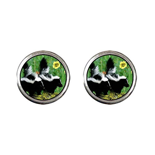 GiftJewelryShop Silver Plated Wildlife Skunk Photo Stud Earrings 10mm Diameter ()