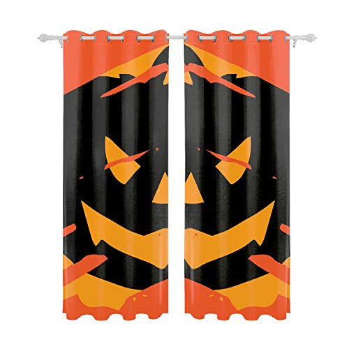 Verna Christopher Thermal Insulated Blackout Grommet Curtain Drapes for Living Room 55inch Width by 84 inch Length-Set of 2 Panels-Happy Halloween ()
