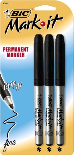 BIC Mark-It Permanent Marker, Fine Point, Black, 3 Markers (GPMP31-Blk)