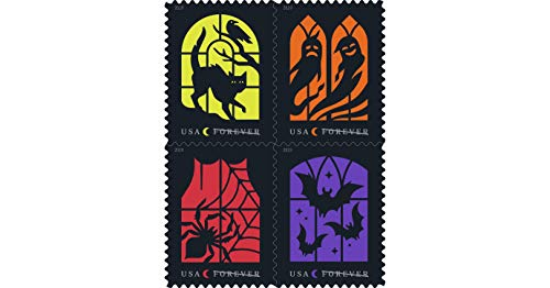 Halloween Window Silhouettes 2019 (Spooky Silhouettes Halloween US Postage Stamps with Irridescent Effect Pane)