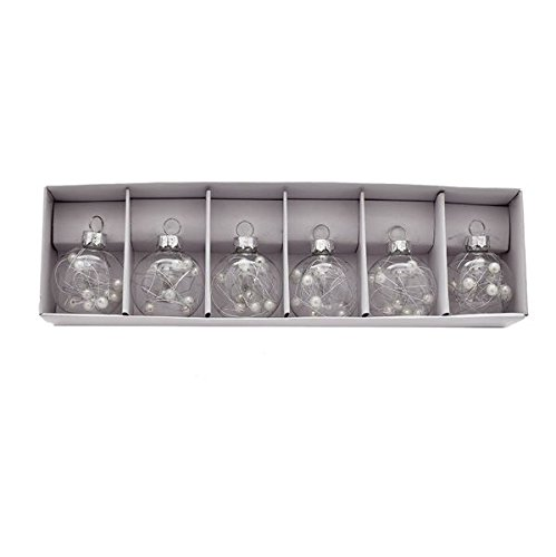 Kurt Adler Clear Glass Ball Ornament Place Card Holders With Beads, 12-piece Box Set (Place Christmas Holders Card)