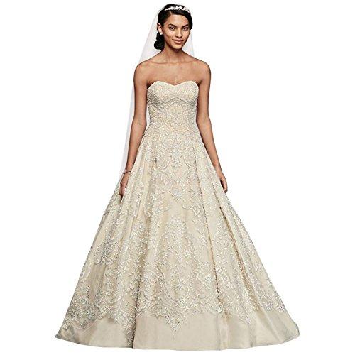 Oleg Cassini Beaded Lace Tulle Wedding Dress Style CWG635, Solid Ivory, 0
