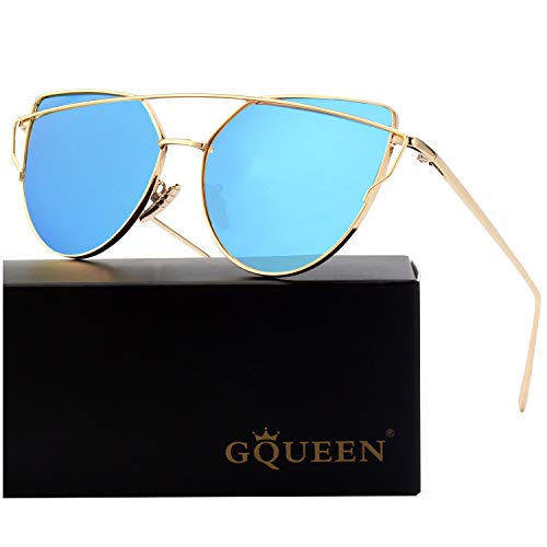 GQUEEN Fashion Oversized Polarized Metal Frame Mirrored Lens Cat Eye Sunglasses for Women
