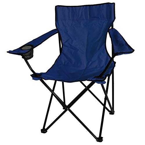 ASAB Folding Camping Chair Fishing Seat With Armrest And Cup Holder Portable Outdoor Beach Garden Furniture – Blue