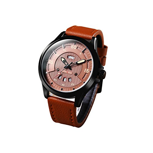 Cheapest Price! Men's Fashion Business Quartz Watch with Black Leather Strap Waterproof Date Analo...