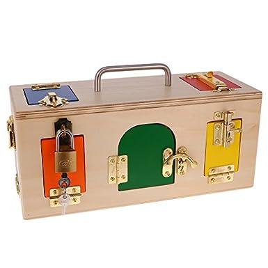 MagiDeal Montessori de Madera Práctico Cajita de Bloqueo Juguetes Educativos Niños: Amazon.es: Amazon.es