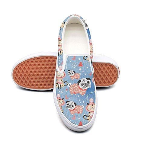 PDAQS Women cats and pug dog loafers skate shoes low top