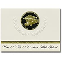 Signature Announcements Umo N Ho N Nation High School (Macy, NE) Graduation Announcements, Presidential style, Elite package of 25 Cap & Diploma Seal Black & Gold