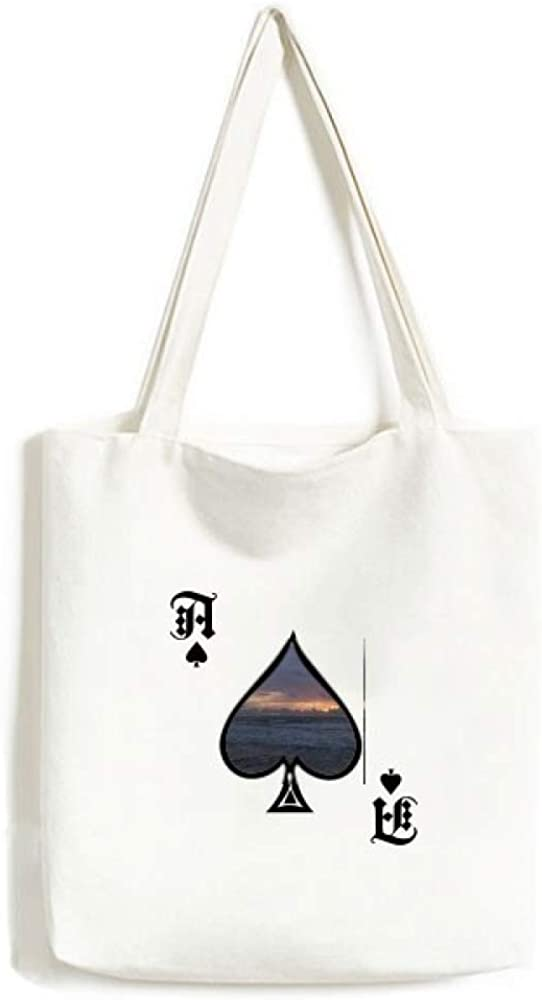 Ocean Sky Water Science Nature Picture Handbag Craft Poker Spade Canvas Bag Shopping Tote