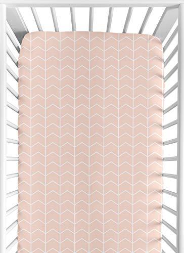 Sweet Safari Crib Sheet - Sweet Jojo Designs Blush Pink and White Chevron Arrow Baby or Toddler Fitted Crib Sheet for Watercolor Elephant Safari Collection