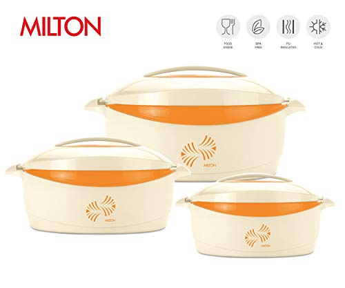 (Milton Trumph 3 pc set (34oz/50oz/84 oz) Insulated Hot Pot/Casserole/Serving Bowl with Lid & Stainless Steel Inner - Keep food Hot/Cold upto 4-6 hrs (Cream/Orange))