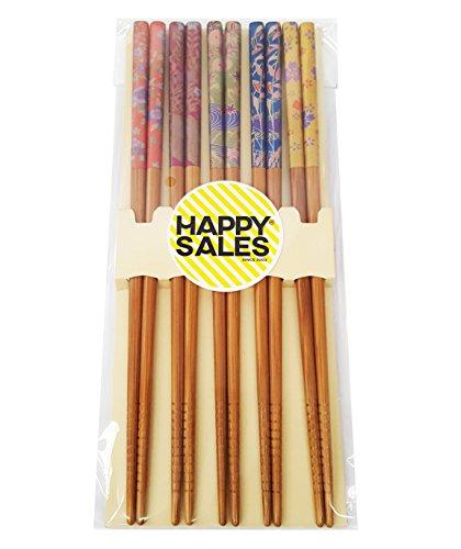 - Happy Sales HSCH100/S, 5 Pairs Japanese Chopsticks Flower & Leaves Design