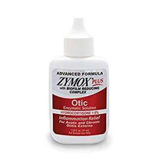 Zymox Advanced Formula Otic Plus Enzymatic Ear Solution for Dogs and Cats with 1% Hydrocortisone, 1.25oz