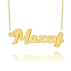 Features of the Personalized Name Necklace: Made of quality sterling silver material. Maxey Name Necklace Your name necklace personalized should stay dry, keep away from sulfur, chlorine, chemicals and sweat. Personalized sterling silver name...