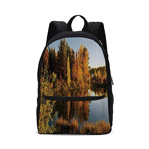 - Fall Decor Fashion Canvas printed Backpack,Lake in Sunset Rays Autumn Landscape Pond Woodland Outdoors Ecology Environment Decorative for school,One_Size