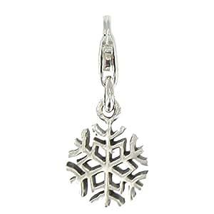 Joyas Les Poulettes - Charms Dijes -Copo de Nieve - Cristal de Hielo con Plata de Ley