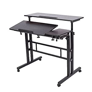 LaCyan Adjustable Height Standing Computer Desk Multi-Function Laptop Desk with Mouse Board (Standard, Black)