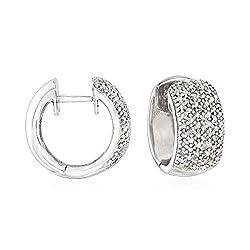 Sterling Silver Diamond Accent Huggie Hoop Earrings