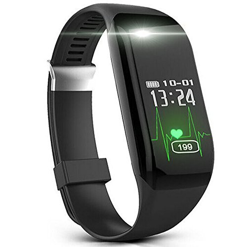 Fitness Watch, Heart Rate Monitor Tracker, Pedometer Bluetooth Sports Bracelet Activity Waterproof Tracker with Steps Counter for Android iOS Smartphone, Hembeer Black