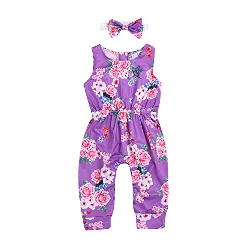 MLCHNCO Baby Girls Sleeveless Romper Toddler Girl Floral Jumpsuit + Flower Headband Summer Outfits (Purple, 3-4 Years)