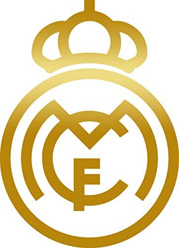 (ANGDEST FC Real Madrid (Metallic Gold) (Set of 2) Premium Waterproof Vinyl Decal Stickers for Laptop Phone Accessory Helmet Car Window Bumper Mug Tuber Cup Door Wall Decoration)