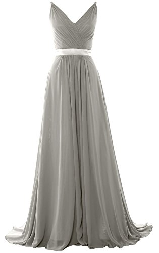 MACloth Women V Neck Mid Open Back Long Bridesmaid Dress Formal Evening Gown (26w, Silver)