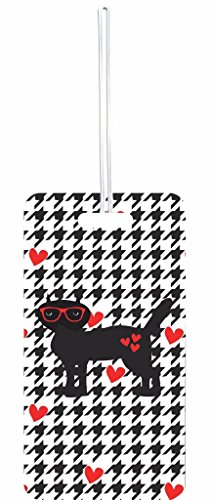 Hipster Feline on Houndstooth Pattern - Hearts Rosie Parker Inc. Set of 6 Luggage Tags with Personalized - Number Sunglasses 1 Brand