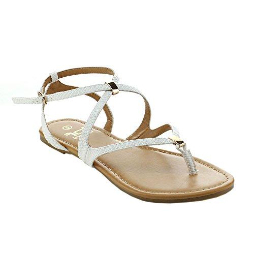 BETANI AMANDA-22 Women Casual Roman Gladiator Flat Sandals,WHITE,8