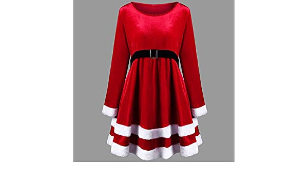 Amazon.com: Blue Stones Women Knee-Length Dress Merry Christmas O-Neck Solid Dresses Red Festival Fit and Flare Elegant Party Dress Sep: Kitchen & Dining