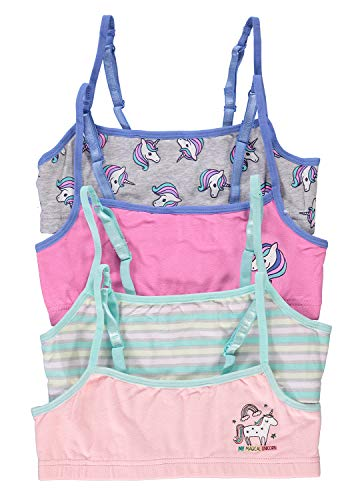 Fun Unicorn Girls Training Bras   Crop Tops 4-Pack Size XL (16)
