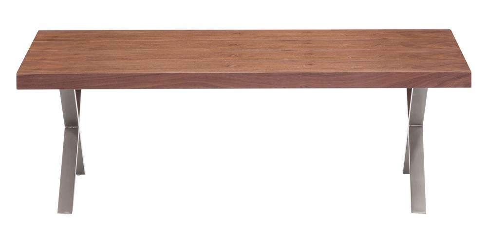 Zuo Modern Renmen Coffee Table, Walnut, Combines the Minimal Elegance of Modernism and Stainless Steel with the Warm… - Combines the minimal elegance of modernism and stainless steel with the warm walnut tones of the mid-century Works in any style space, no matter how contemporary or transitional Great piece of design - living-room-furniture, living-room, coffee-tables - 41yFiI%2BMHKL -