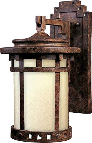 Maxim 3143MOSE Santa Barbara Dark Sky 1-LT Outdoor Wall Lantern, Sienna Finish, Mocha Glass, MB Incandescent Incandescent Bulb , 60W Max., Dry Safety Rating, 2700K Color Temp, Standard Dimmable, Glass Shade Material, 14112 Rated Lumens