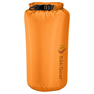 LiteSak Waterproof Lightweight Dry Bag | Keeps Gear Safe & Dry During Watersports & Outdoor Activities | Made from Ultra Strong Silicone-Coated Nylon & Weighs Less Than 2 Oz. | 10L Orange