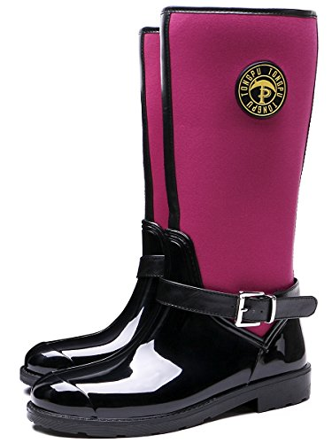 Shoes Women's Garden Rain Waterproof Fuchsia Outdoor TONGPU Boots Fashion 0xwTSTaz