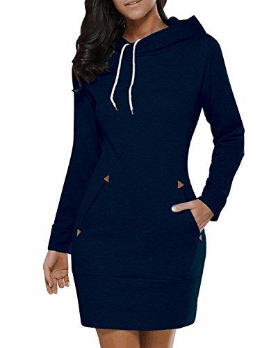 BIUBIU BUIBIU Women's Long Sleeve Cotton Slim Fit Midi Hoodie Dress With Pocket Dark Blue (Hooded Sweater Dress)