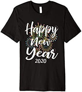 New Years Eve Gift Happy New Year 2020  With Fireworks Premium T-shirt | Size S - 5XL