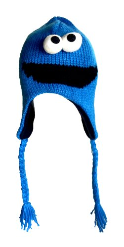 Cookie Monster Sesame Street Costume Hand Knitted Aviator Beanie Hat with Fleece Lining