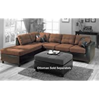 Coaster Fine Furniture 505655Harlow L Sectional Sofa in Chocolate Microfiber and Dark Brown Faux Leather