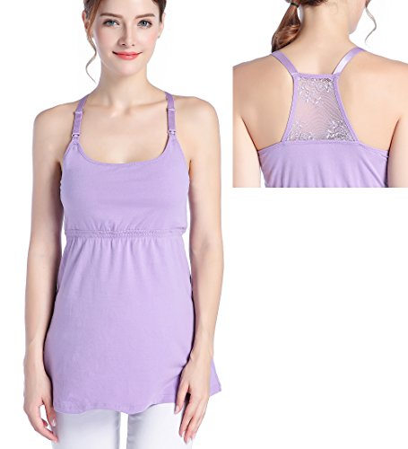 SUIEK Nursing Tank Tops Cami Maternity Shirt Sleep Bra for Pregnancy (Small, Purple)