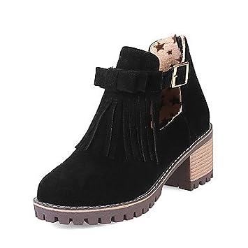 AIURBAG Femme Chaussures Similicuir Hiver Bottes à la Mode Botillons Bottes Bout rond Bottine/Demi Botte Boucle Frange(s) Pour Décontracté Habillé , black , us7.5 / eu38 / uk5.5 / cn38