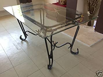 New Corsica Clear Glass And Wrought Iron Dining Table Amazon Co Uk