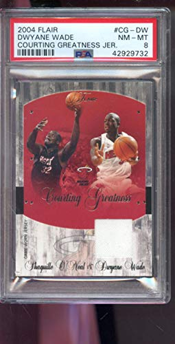 (2004-05 Fleer Flair Courting Greatness 128/150 Shaquille O'Neal Dwyane Wade Game Used Game Worn Jersey PSA 8 Graded NBA Basketball Card Dwayne Shaq ONeal )