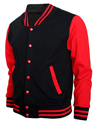 (BCPOLO Baseball Jacket Varsity Baseball Cotton Jacket Letterman Jacket 8 Colors-B-R XL Black-red)