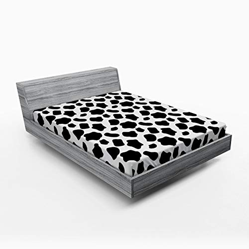 Ambesonne Cow Print Fitted Sheet, Cattle Skin Pattern with Scattered Spots Animal Hide Plain and Pasture Print, Soft Decorative Fabric Bedding All-Round Elastic Pocket, Full Size, White Charcoal