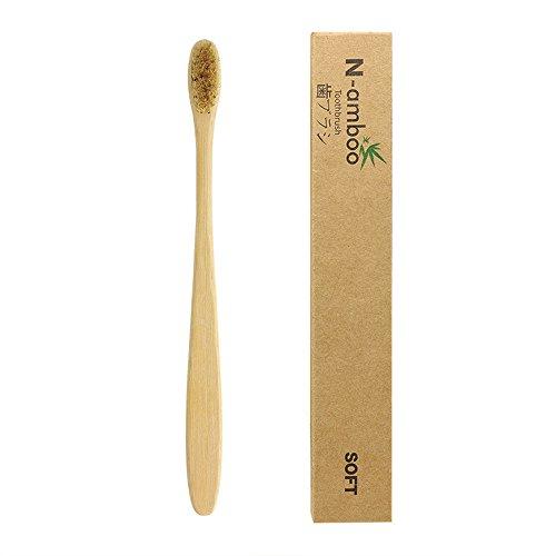 2 Unidades de Cepillos de Dientes en Madera Ecológico de Bamboo color Natura cerdas Suaves