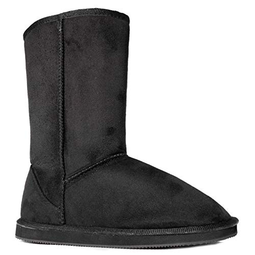 RF ROOM OF FASHION Women's Vegan Shearling Fur Lined Hidden Pocket Mid-Calf Snow Winter Boots Premium Black SU SIZE8